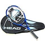 Raquette de tennis professionnelle en fibre de carbone avec sac de tennis enroulé autour de la raquette de tennis.