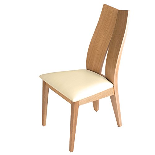 treesure Esszimmerstuhl M, Eiche Massivholz, Bezug Kunstleder, Küchenstuhl, Lounge Stuhl, Designerstuhl