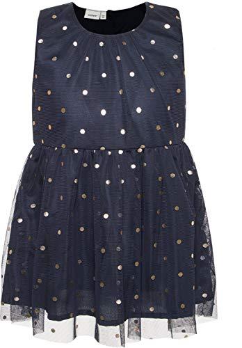 NAME IT Mädchen Kleid festlich Tüllkleid gepunktet NMFSARA, Größe:110, Farbe:Dark Sapphire