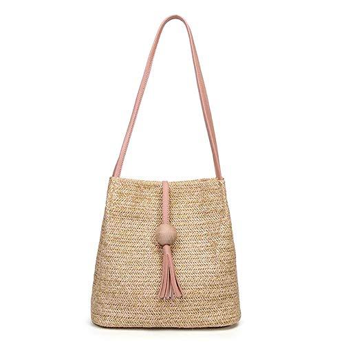 Stroh Handtasche, Sommer Strand Tasche Damen Schultertasche Frauen Strandtasche, Strandkorb Korb Einkaufstasche,Strandtasche im böhmischen Stil