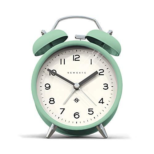 NEWGATE®, Reloj silencioso - Moderna Caja de Color Metal con Martillo clásico y Alarma de Doble Campana HWD 14,5 x 9,7 x 5,5 cm (Neo-Mint)