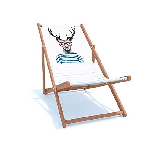 Holtaz Tumbona Madera Hamaca Plegable Silla Playa Ajustable en 4 Posiciones con Material Desmontable Jardín Piscina Bares Cafeterías Hoteles hasta 130 kg Ciervo