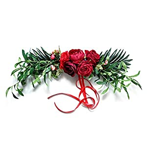 2Krmstr Artificial Peonies Flower Swag, 23.6 Inch Wedding Arch Swag with Imitation Silk Flower and Green Leaves, Spring Garland for Front Door Background Wall Chair Back Decor, Red