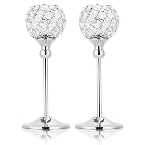 Olebes Silver Crystal Candle Holders Set of 2 - Decorative Candelabra Candlesticks Holder for Table Centerpiece, Christmas, Wedding, Dining, Party, 11.8 Inch Tall