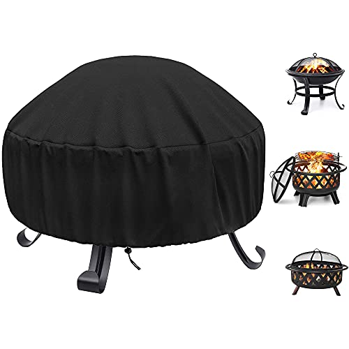 WLEAFJ Fire Pit Cover Round for Fire Pit 22 Inch – 34 Inch, 420D Heavy Duty Oxford Fabric Firepit Cover Round, Full Coverage Patio Outdoor Fireplace Cover, Waterproof Fire Bowl Cover