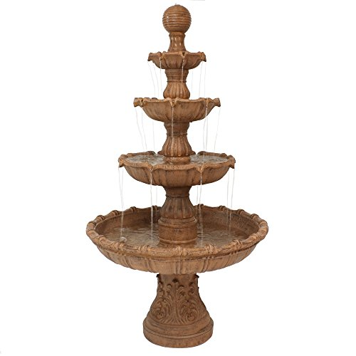 Sunnydaze Outdoor Water Fountain with Ball Top - Large Tiered Fountain for Patio & Backyard Waterfall Feature - 80 Inch Tall