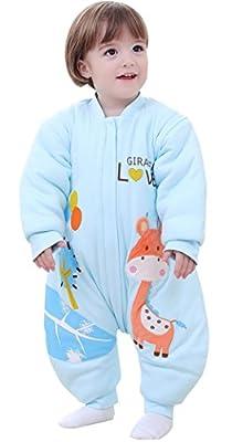 BEIFANCHEN - Infantil Mono Saco de Dormir Algodón Grueso Invierno con Pies Mangas Desmontables para Bebé con Cremallera Pijama Estampado 3D Dibujo Animado para Niños Niñas