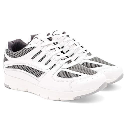 Zapatos de Hombre con Alzas Que Aumentan Altura hasta 7 cm. Fabricados en Piel. Modelo Siena Blanco 42
