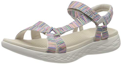 Skechers Damen On-The-go 600 Sandalen, Mehrfarbig (Nat/Multi Textile Ntmt), 41 EU