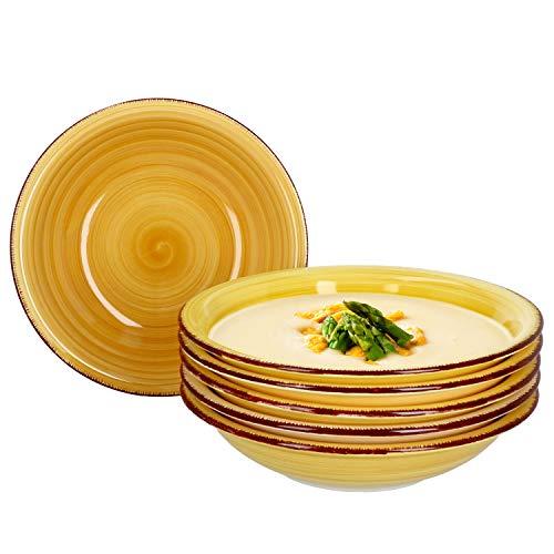 MamboCat Yellow Baita 6X Suppen-Teller gelb I Robustes gelbes Steingut-Geschirr für 6 Personen I 6-er Tiefe Teller-Set mit modernem Strudel-Dekor in tollen Gelbtönen I gelbe Teller tief 6 Stück