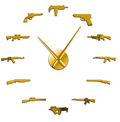 QERTYU Varias Armas Pistola Arma DIY Reloj de Pared Revólver Doble Pistola Ejército Tema Militar Etiqueta de la Pared Reloj Reloj de Cuarzo Superficie del Espejo