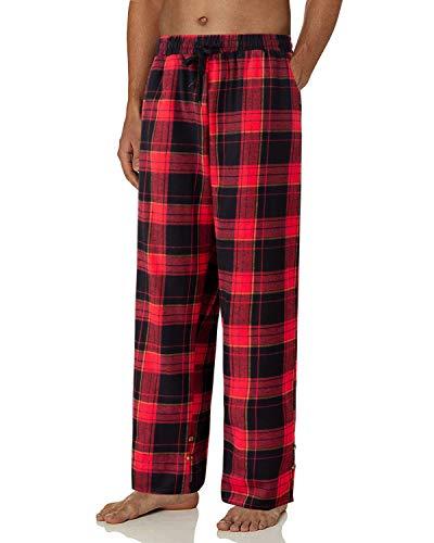 J.VER Pantalones de Pijama para Hombre 100% Algodón Franela Pantalón de Salón de Cuadros Escocés Pantalon Largos Suelto de Dormir de Estar por Casa - B/Rojo & Negro XL