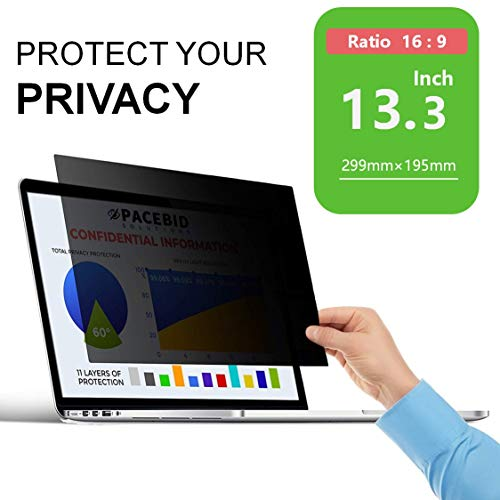 PaceBid Laptop I Notebook Privacy Filter I Blickschutz Folie I Privacy Screen Filter fur 13.3 Zoll Laptop, Anti-Spy Blickschutzfolie - 13.3 Zoll 16:9 Bildschirme