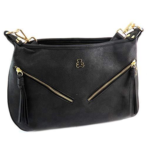 Lulu Castagnette [Q9159 - Designer Tasche schwarz - 34x23x12 cm.