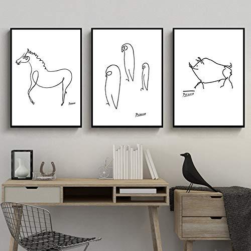 HUANGRONG Ölgemälde Schwarz Und Weiß Picasso Strichzeichnung Tiere Schwein Pferd Pinguin Skizzen Poster Leinwand Malerei Wandbild Home Raumdekoration (Color : 3Pcs, Size (Inch) : 30x40cm No Frame)