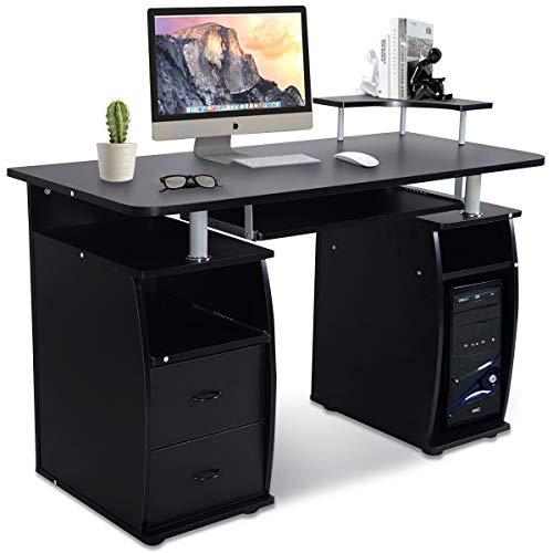 GOPLUS Computertisch, Schreibtisch Farbwahl, Bürotisch mit Tastaturauszug, Arbeitstisch, PC-Tisch mit Schubladen, 120x55x85cm (Schwarz)