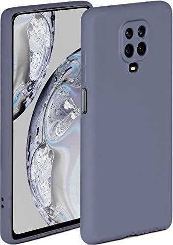 ONEFLOW Soft Hülle kompatibel mit Xiaomi Redmi Note 9 Pro Hülle aus Silikon, erhöhte Kante für Displayschutz, zweilagig, weiche Handyhülle - matt Blau Grau