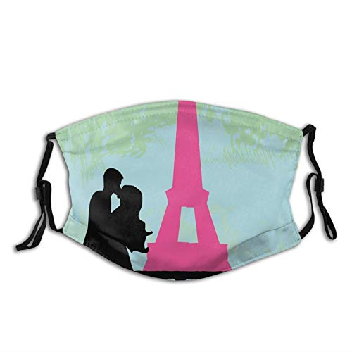 Women Men Multifunctional Half Face Bandana Reusable 1002D Print Breathable Dust Protective Face Covering,Couple In Paris Kissing Near The Eiffel Tower Love Valentines Day Hand Drawn