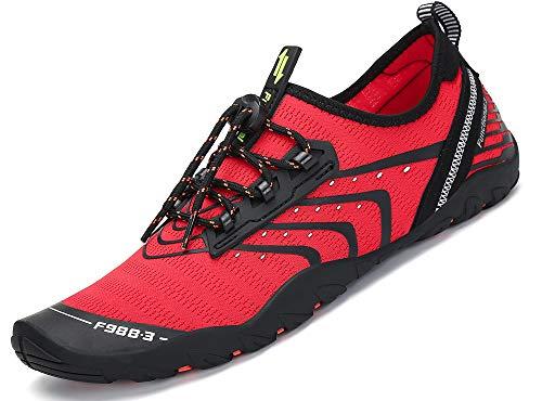 SAGUARO Unisex Barefoot Escarpines Zapatos de Agua Playa Hombre Mujer Minimalistas Zapatillas de Deportes Acuáticos Secado Rápido Calzado, Rojo 42