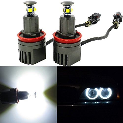 Alla Lighting 40W H8 CREE LED Angel Eye 360-Degree Halo Bulb Light Lamp 6000K Xenon White For BMW E60 E61 E90 E92 E70 E71 E82 E89 1 3 5 Series X5 X6 Z4 (H8-40W)