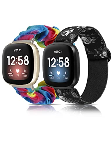 Glebo Compatible with Fitbit Sense Bands/ Fitbit Versa 3 Bands for Women, Adjustable Stretchy Nylon Sport Watch Band + Elastic Fabric Strap Wristband Accessories, 2 Packs Small, Tie Dye/White Floral