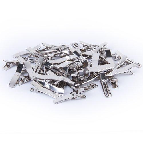 Lot de 50 Clip Pince à Cheveux 35mm Couleur d'Argent