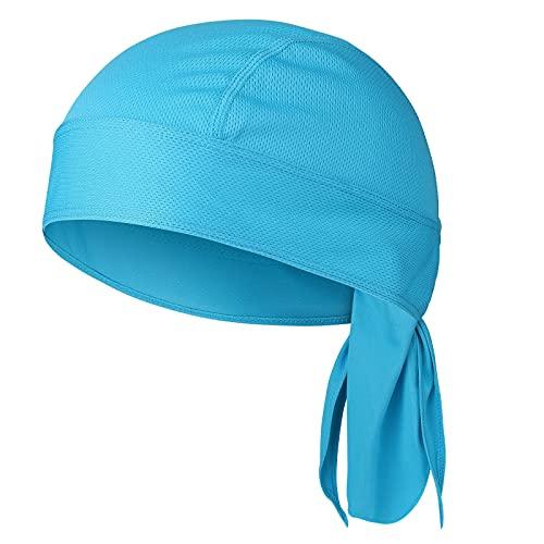 Bandana para exteriores, deportiva, pañuelo para la cabeza, para mujer, de verano, transpirable, absorbe el sudor, turbante pirata, crema solar y de secado rápido, azul, Talla única