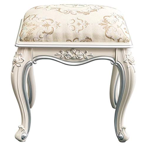Yamyannie Vanity Chair Dressing Stool Ivory White Makeup Shoe Stool Sofa Stool PU Leather Art Table Dressing Table Stool for Vanity Room (Color : Trace silver, Size : 40x30x45cm)
