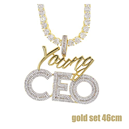 XIAOJIE Nuevo Carta de Cadena de Tenis de 5 mm CEO Collar Colgante Hip Hop Iced out Cubic Zirconia Sliver Color CZ Piedra CEO Gargantilla Apta para Hombres Mujeres (Metal Color : Gold Set 46cm)