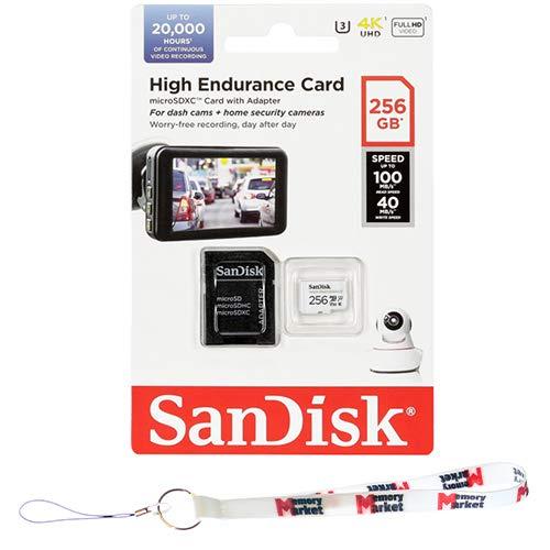 SanDisk High Endurance 256GB MicroSD XC Memory Card UHS-I U3 V30 Full HD 4K 100MB/s SDSQQNR-256G-GN6IA with MemoryMarket Lanyard