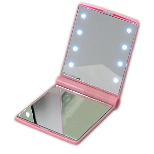 Make-up-Taschenspiegel mit 8 LED-Licht für Lady Pink Pocket Mini LED Make-up Spiegel Kosmetikspiegel Falten Portable Compact Pocket...