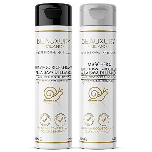 Regenerierend, Wachstumsfördernd & Sofortige Haar Reparatur - Shampoo und Maske 500+500 ml Schneckenschleim + Keratin + Pro Vitamine Complex