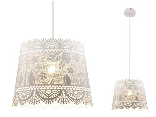 Hängelampe im Landhausstil Hängeleuchte Pendelleuchte Esszimmerlampe Metall Weiß (Blatt-Muster, Pendellampe, Küchenlampe, 25 cm, Höhe 125 cm)