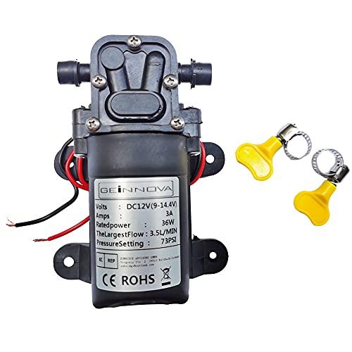 DC12V 73PSI 3,5L/m Pompa autoadescante ad acqua dolce ad alta pressione con morsetti per tubo flessibile agricoltura/giardino/agricoltura/pulizia veicoli (5206-cacn) GEEWIN