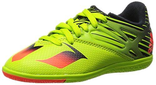 adidas Unisex-Kinder Messi In Indoor Junior Fußballschuhe, Grün (Semi Solar Slime/Solar Red/Core BlackSemi Solar Slime/Solar Red/Core Black), 35 1/3 EU