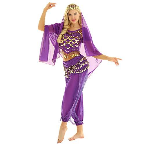 MSemis Damen Bauchtanz Kostüm Set Pailletten Tanzkleidung Indische Tanz Performance-Kleidung 4tlg. Sets Oberteil + Haremshose + Hüfttuch + Kopftuch Lila Einheitsgröße