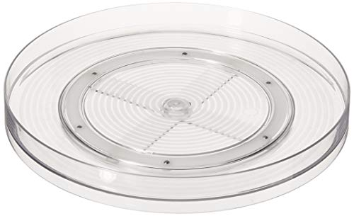 Home Basics Ta Spin Non-Skid Plastic 360 Degree Turntable – Rotating Stand for Dining Table, Kitchen Counters, Cabinets, Pantry and Fridge-Spices, Seas, Clear