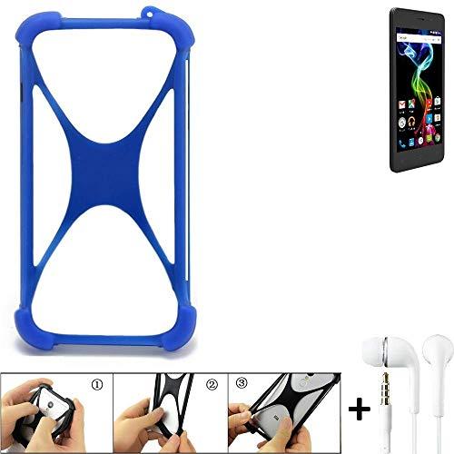 K-S-Trade® Bumper Für Archos 45d Platinum Schutzhülle Handyhülle Silikon Schutz Hülle Cover Case Silikoncase Silikonbumper TPU Softcase Smartphone, Blau (1x), Headphones