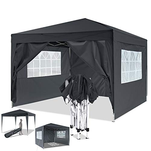 Bunao 3x3m Pop Up Garden Canopy Waterproof Gazebo Camping Tent Shelter Outdoors (3x3M, Black_New)
