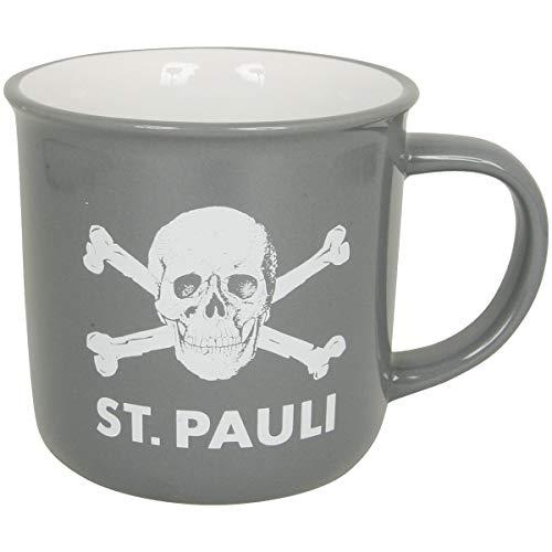 FC St. Pauli Kaffeebecher Tasse Becher Kaffee Aufdruck Totenkopf grau weiß