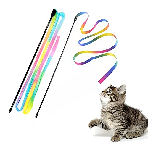Cat Rainbow Wand Toys, Interactive Cat Toy, Colorful Ribbon Charmer for Kittens - 2 PCS