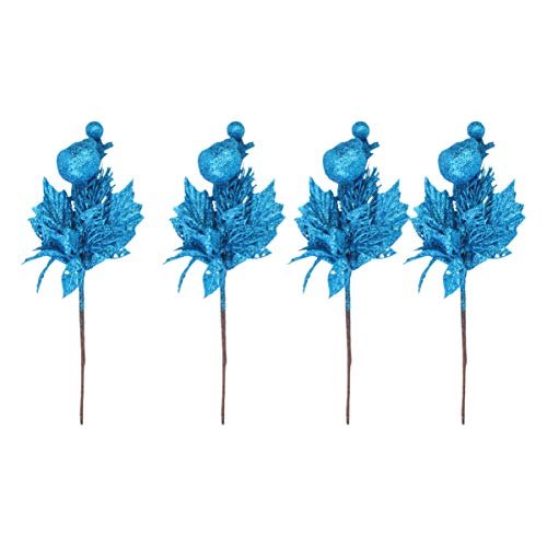 Amosfun Pack of 4 glitter Christmas takes artificial flower Holly Berry comes for Christmas decoration home decor wedding ornament wreath flower jewellery (blue).