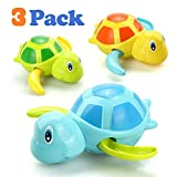 VCOSTORE 3 Pcs Bath Swimming Wind Up Toys for Baby Toddlers, Cute Turtle Baby Bathtub Floating Water Bathing Pool Fun Toys for Boys Girls-Great Gift for Christmas