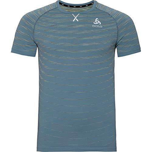 Odlo Blackcomb Pro T-Shirt à col Rond pour Homme, Bleu chiné, Taille S