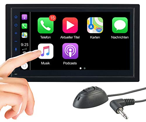 CREASONO Autoradio iPhone: 2-DIN-Autoradio mit Freisprechfunktion, Apple CarPlay, 17,1-cm-Display (Autoradio Bluetooth)