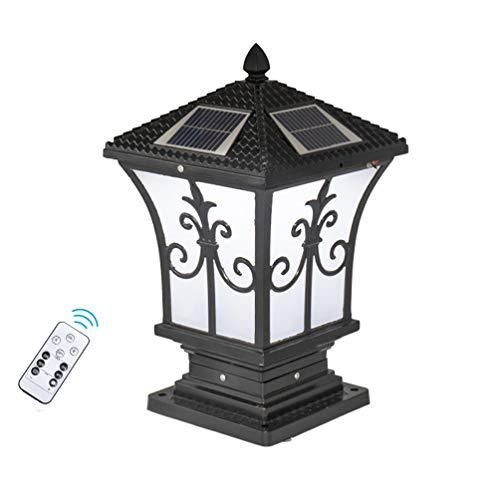 ACHNC Luz de Farola Solar con Control Remoto,Lámpara de Sobremuro para Exteriores Farola de Exterior IP65 Impermeable Antigua Negra Luces de Jardín Luz de Poste para Caminos Patio Terraza Escalera,M