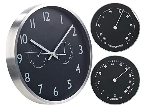 St. Leonhard Funkuhren: 3in1-Funk-Wanduhr mit Thermometer & Hygrometer, aus Aluminium, Ø 30cm (Funkwanduhren)