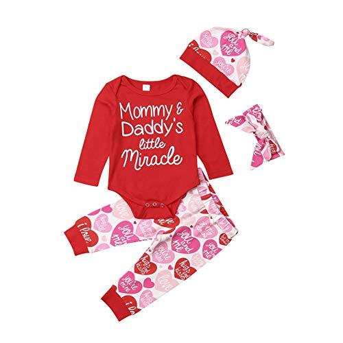 Miaouyo Conjunto de mameluco de manga larga para bebé recién nacido + gorro de nudo + diadema con lazo + pantalones largos, juego de 4 piezas para niños