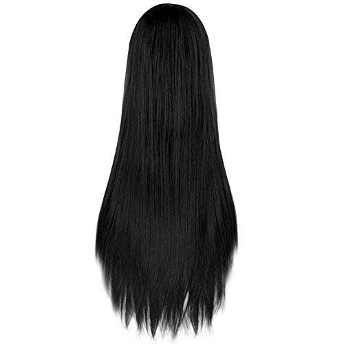 Rbenxia 32'' Women's Cosplay Wig Hair Wig Long Straight Costume Party Full Wigs Black
