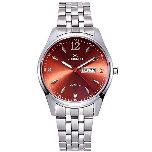 RelojHombre Moda Luminoso Impermeable Relojpara Hombre Banda de Acero Calendario Doble Relojde Cuarzo Relojde Marca de Acero Inoxidable Relojde Negocios para Hombre